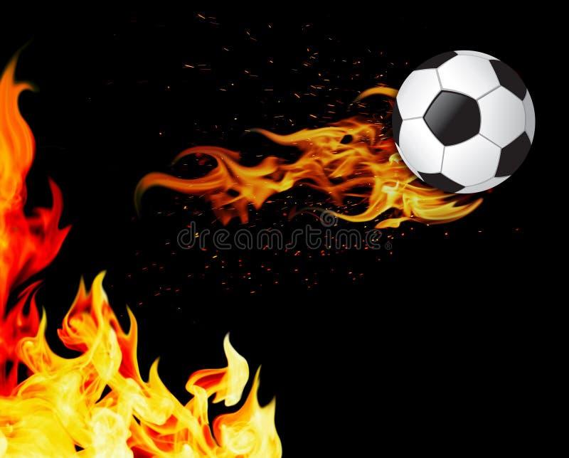 Fußballkugel auf Feuer lizenzfreies stockbild