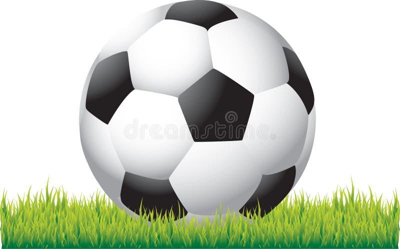 Fußballkugel auf Gras vektor abbildung
