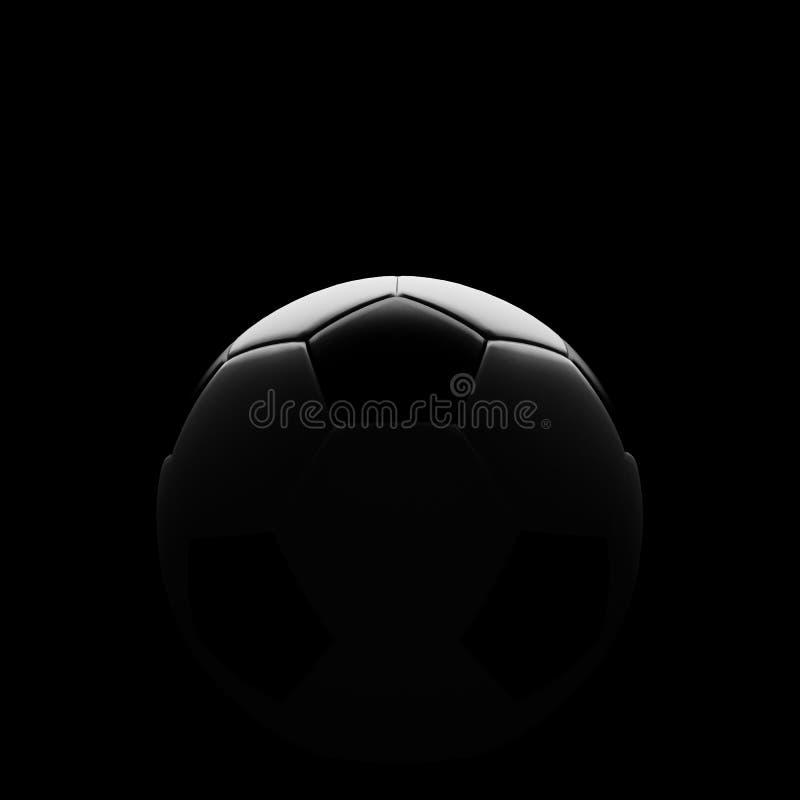 Fußballkugel auf Schwarzem mit schöner rückseitiger Beleuchtung vektor abbildung