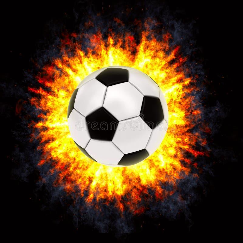 Fußballkugel in der leistungsfähigen Explosion stockbild
