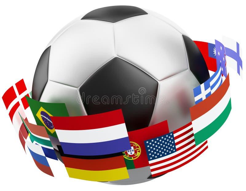 Fußballkugel der Welt 3d. vektor abbildung