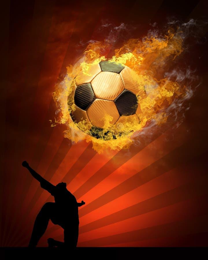 Fußballkugel im Feuer stock abbildung