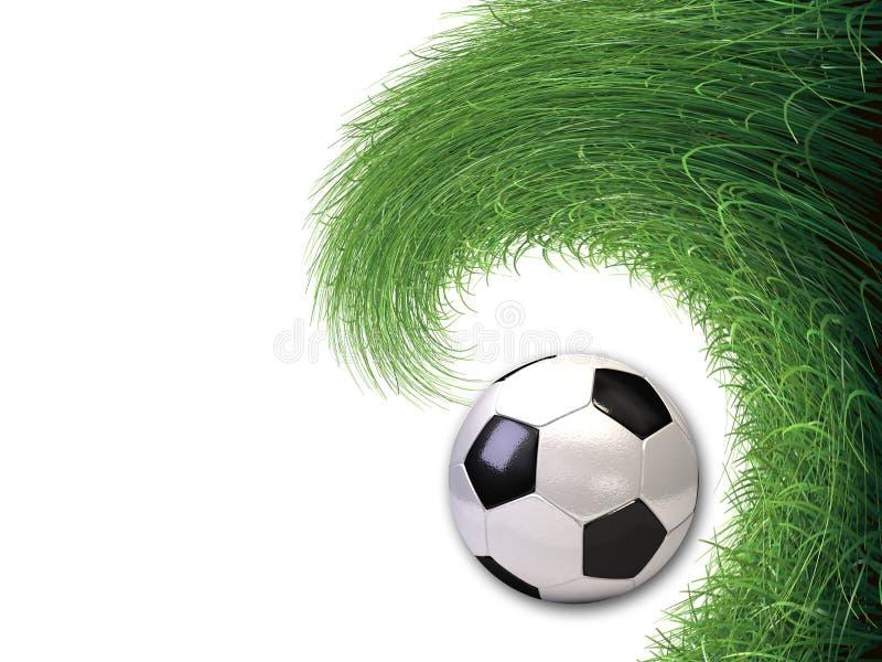 Fußballkugel im Grashintergrund stock abbildung