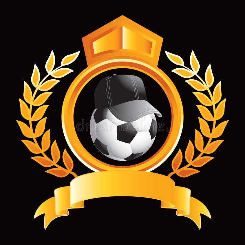 Fußballkugel mit Hut auf Goldköniglichem Scheitel vektor abbildung