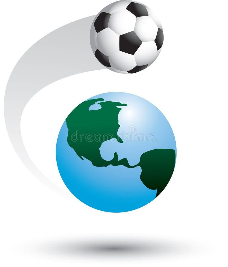 Fußballkugel um die Welt stock abbildung