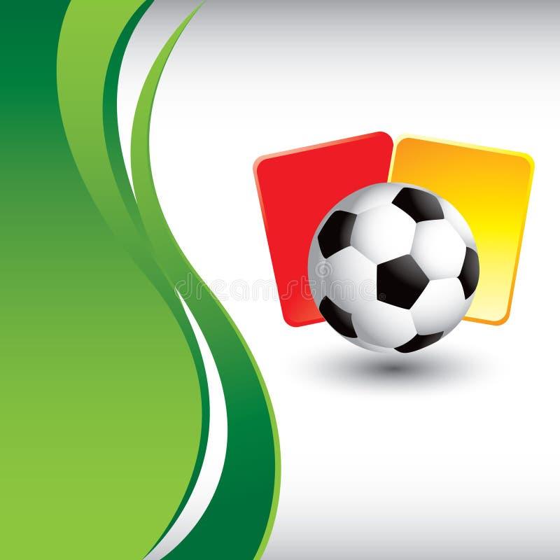 Fußballkugel- und -strafkarten mit grüner Welle vektor abbildung