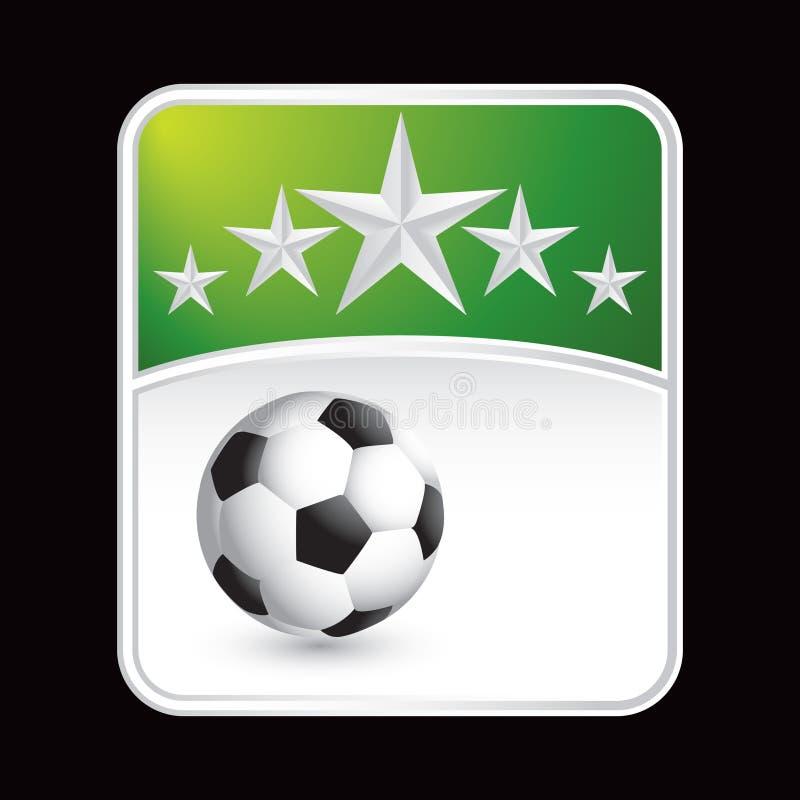Fußballkugel unter grünem Sternhintergrund lizenzfreie abbildung