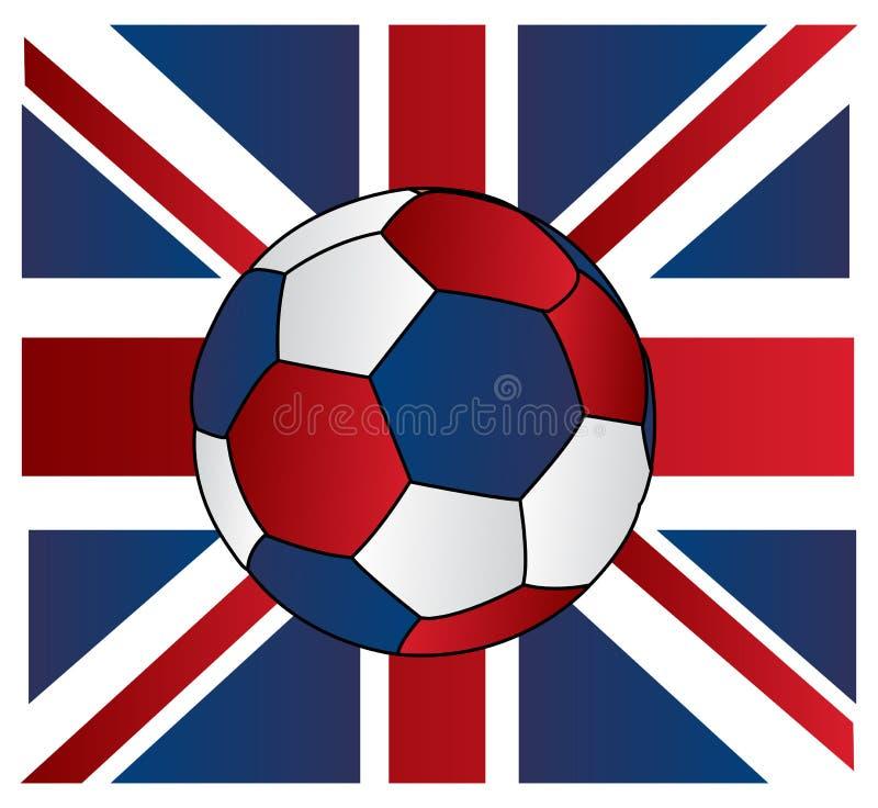 Fußballkugel von Großbritannien mit Union Jack lizenzfreie abbildung