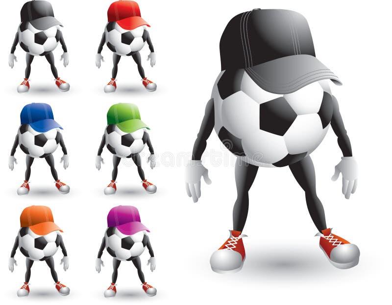 Fußballkugel-Zeichentrickfilm-Figuren mit Hüten stock abbildung