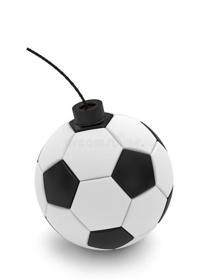 Fußballkugelbombe auf Weiß stockbild