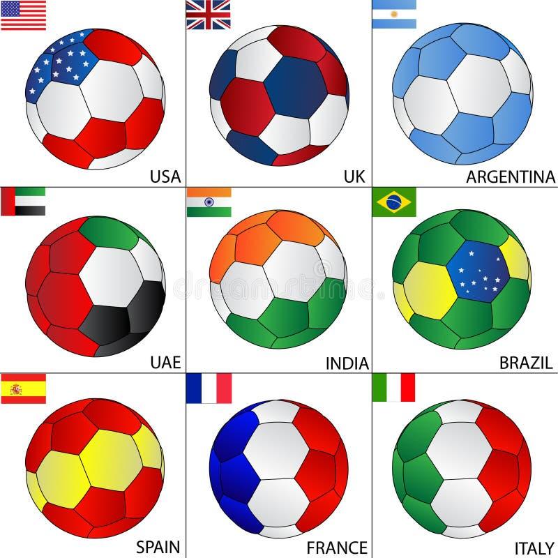 Fußballkugeln der deferent Länder lizenzfreie abbildung