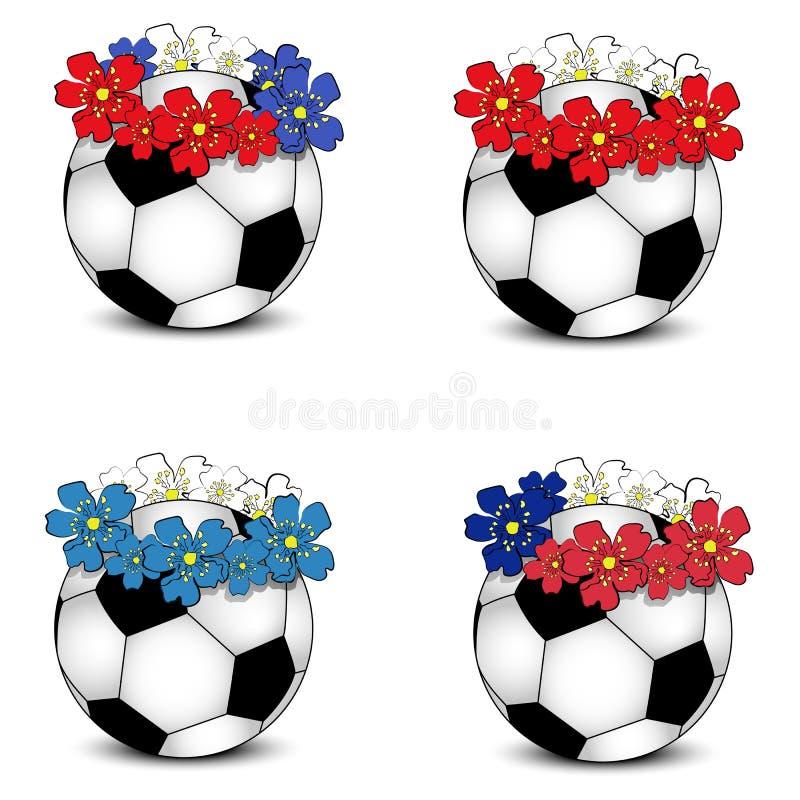 Fußballkugeln mit BlumenStaatsflaggen stockbilder