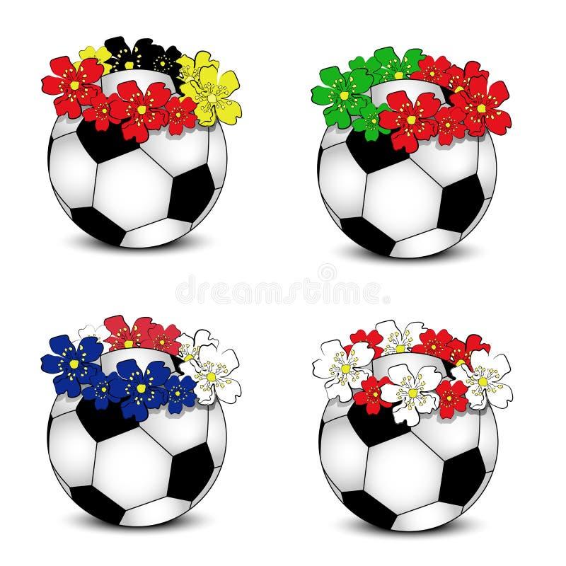 Fußballkugeln mit BlumenStaatsflaggen lizenzfreie stockbilder