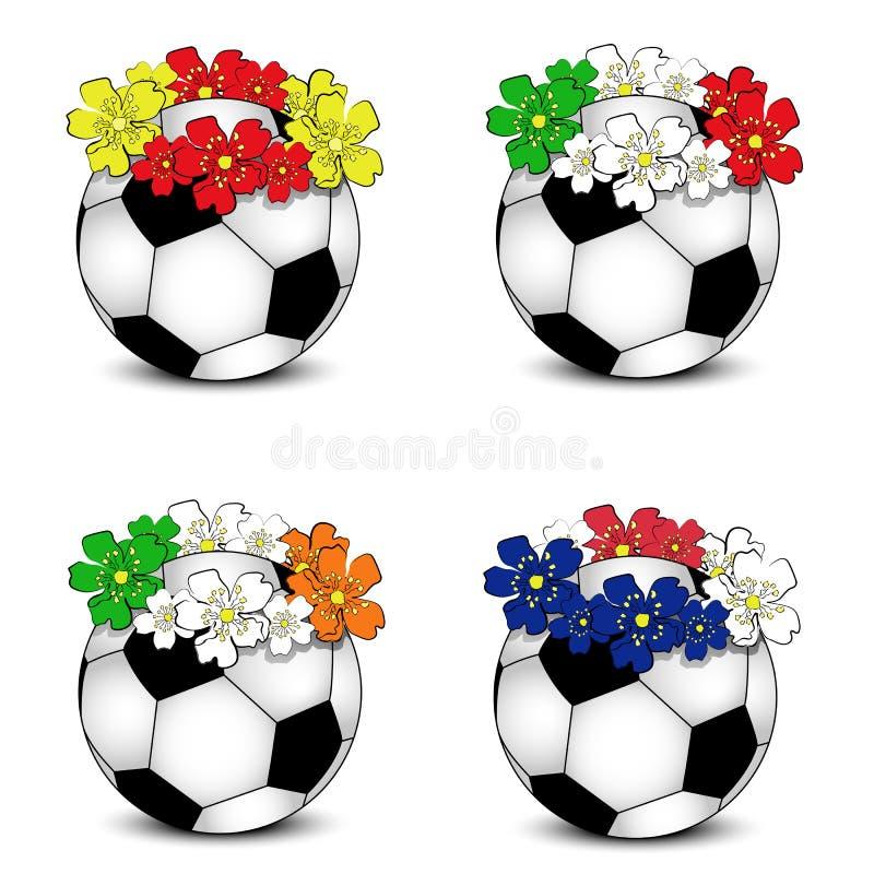 Fußballkugeln mit BlumenStaatsflaggen lizenzfreie stockfotos