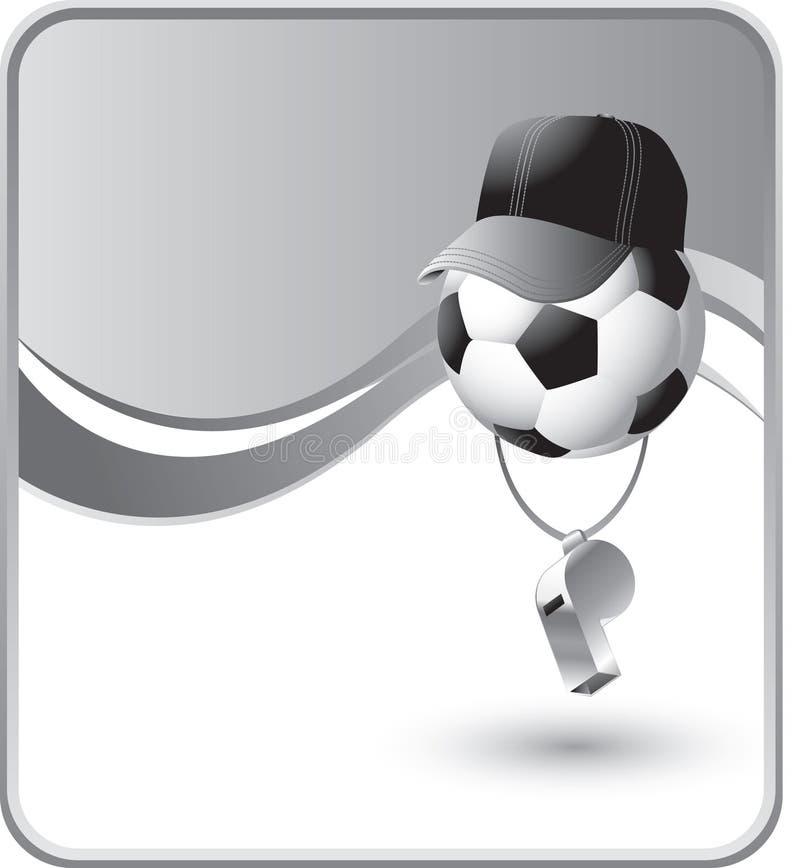 Fußballkugelreferent mit einer Pfeife lizenzfreie abbildung