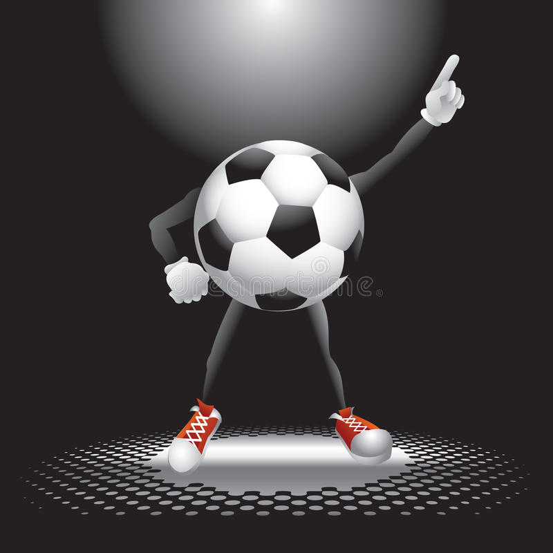 Fußballkugelzeichen unter dem Scheinwerfer vektor abbildung