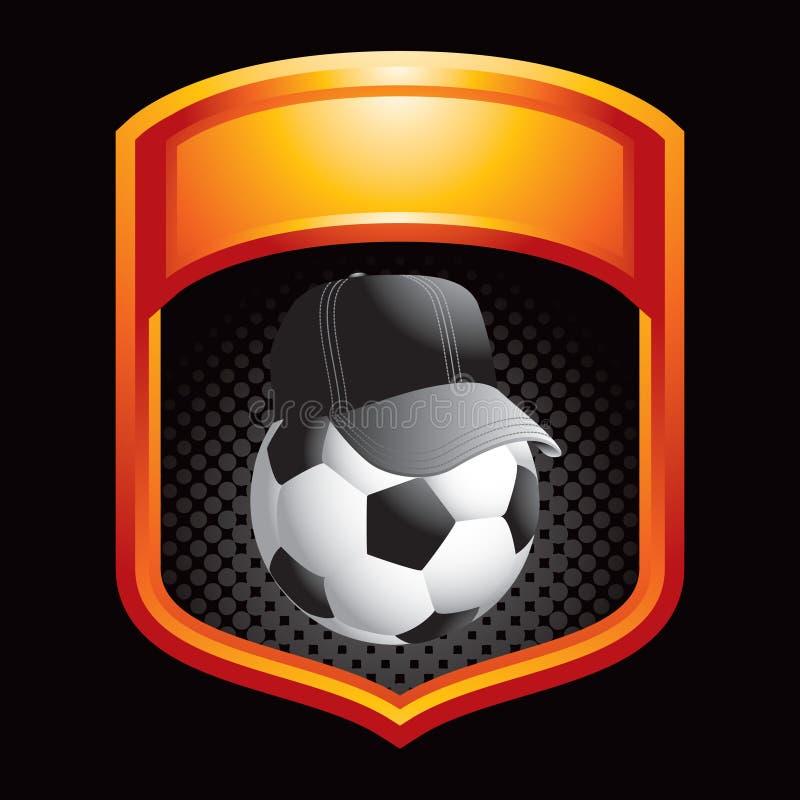 Fußballkugelzug in der orange Bildschirmanzeige stock abbildung