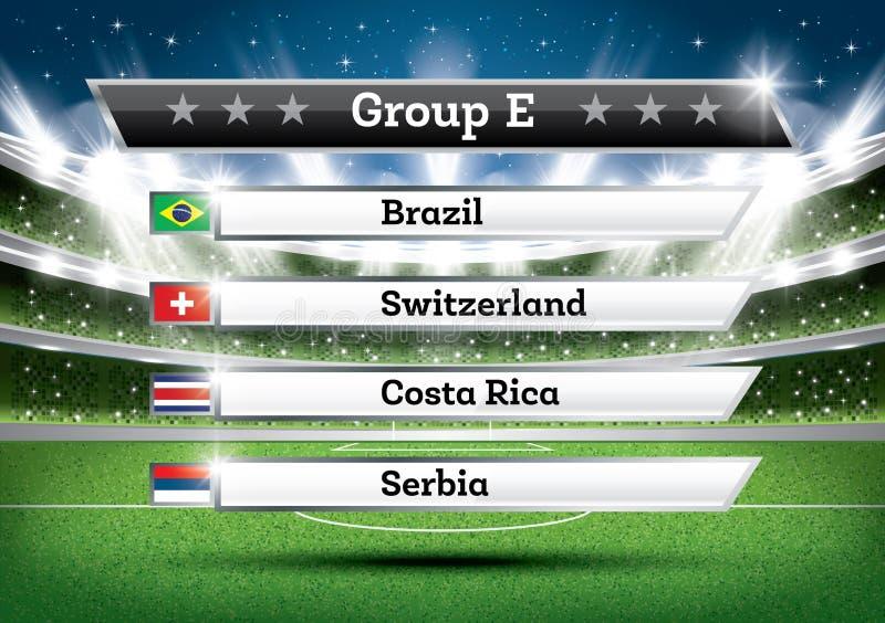 Fußballmeisterschaftsgruppe E Fußballweltturnier Abgehobener Betrag Res lizenzfreie abbildung