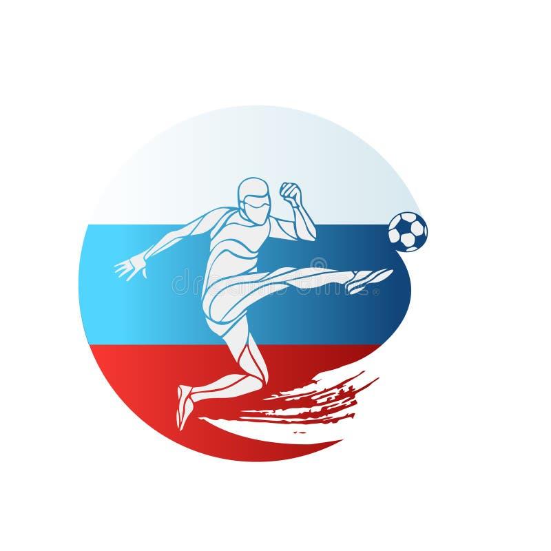 Fußballmeisterschaftslogo Markierungsfahne von Russland Vector Illustration des abstrakten Fußballspielers mit russischer Staatsf stock abbildung