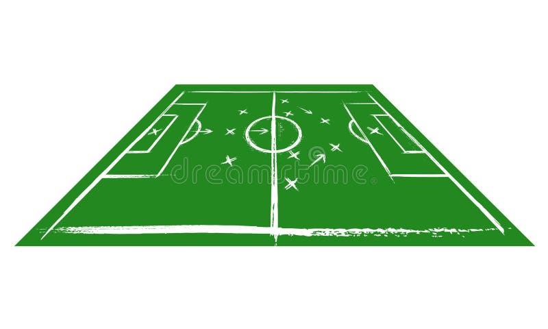 Fußballplatz in der Perspektive Training stock abbildung