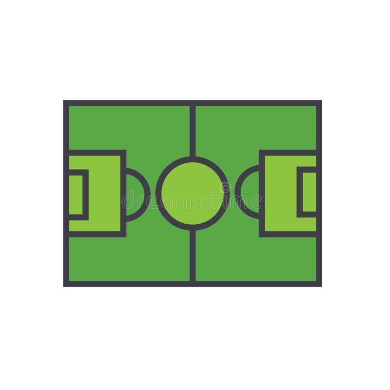 Fußballplatz, flaches Zeilendarstellung, Konzeptvektor des Fußballs lokalisierte Ikone stock abbildung