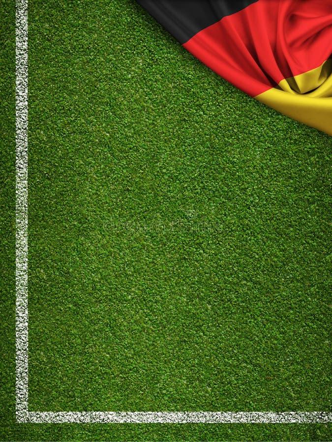Fußballplatz mit Deutschland-Flagge lizenzfreie abbildung