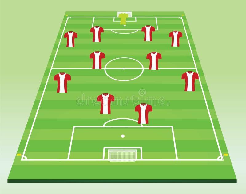 Fußballplatz mit Spielern lizenzfreie abbildung