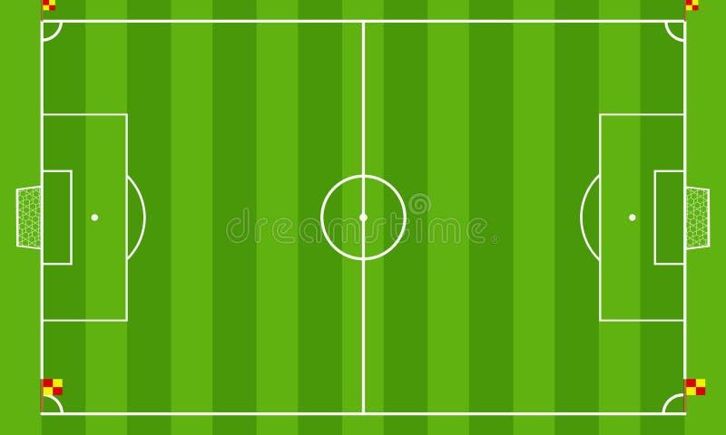 Fußballplatz oder Fußballplatz auf Draufsichthintergrund Entwurfsvektor-Grüngericht für Fußballspiel vektor abbildung