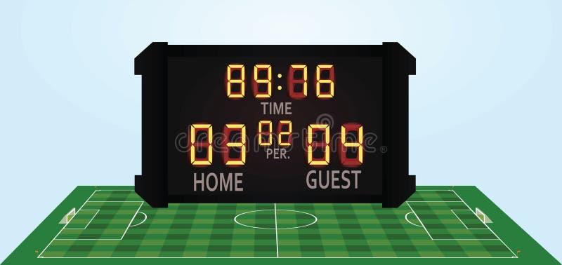 Fußballplatz und Anzeigetafel lizenzfreie abbildung