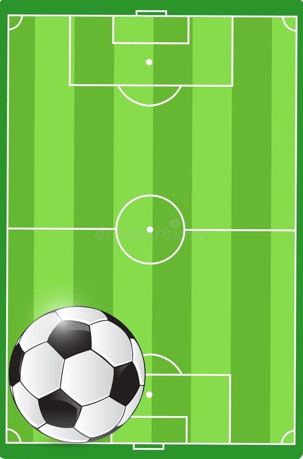 Fußballplatz- und Ballillustration vektor abbildung