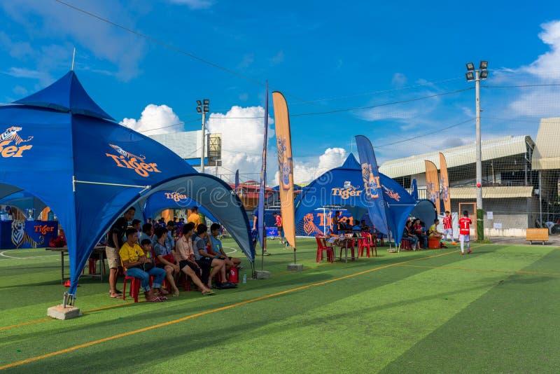Fußballplatz und Fußballfane, die auf Turnier warten lizenzfreie stockfotos