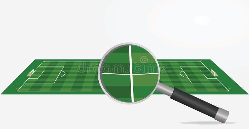 Fußballplatz und Lupe stock abbildung