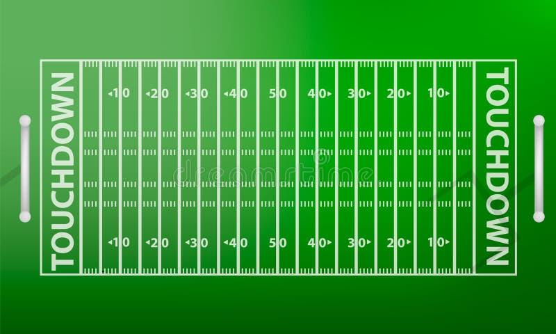Fußballplatzkonzepthintergrund der Draufsicht amerikanischer, realistische Art vektor abbildung