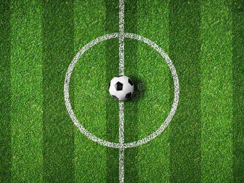 Fußballplatzmitte und Draufsicht des Balls stock abbildung