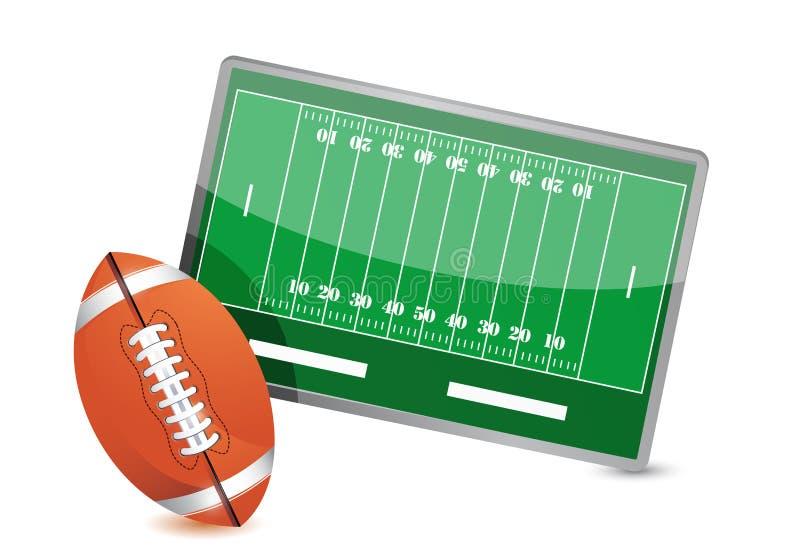 Fußballplatztaktiktabelle, Fußballbälle stock abbildung