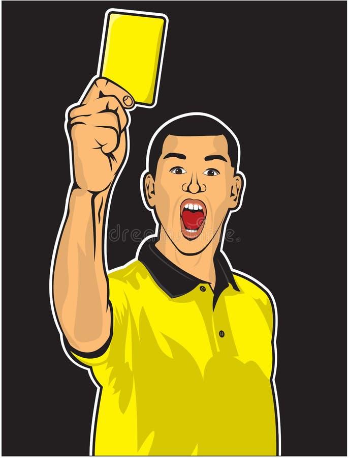 Fußballreferent, der gelbe Karte gibt lizenzfreie abbildung