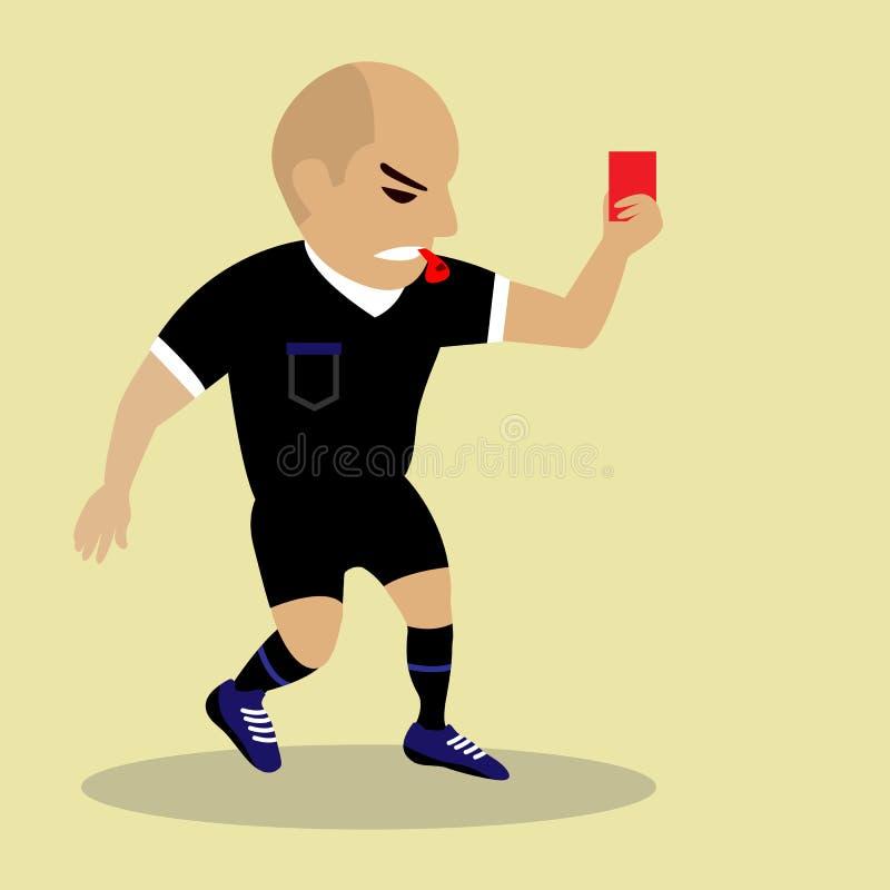 Fußballreferent, der rote Karte gibt lizenzfreie abbildung