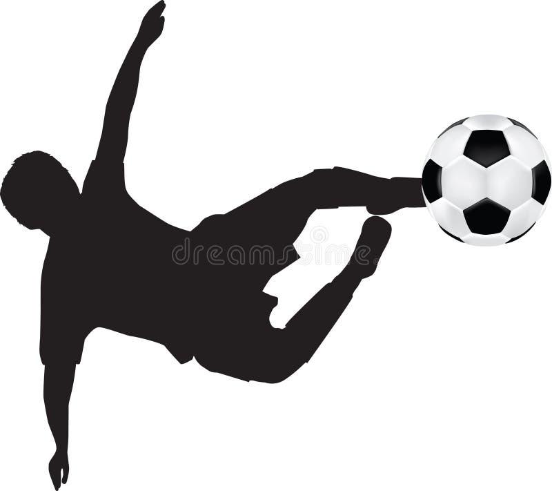 Fußballschattenbild des Flugwesenstoßes vektor abbildung