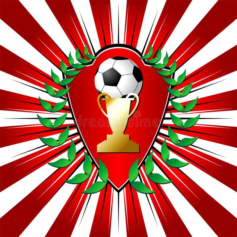 Fußballschild mit Lorbeer stock abbildung