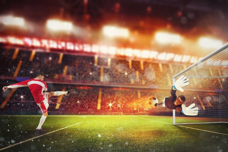 Fußballschlaggerät schlägt den Ball mit genügender Energie, auf Feuer zu gehen stockfoto