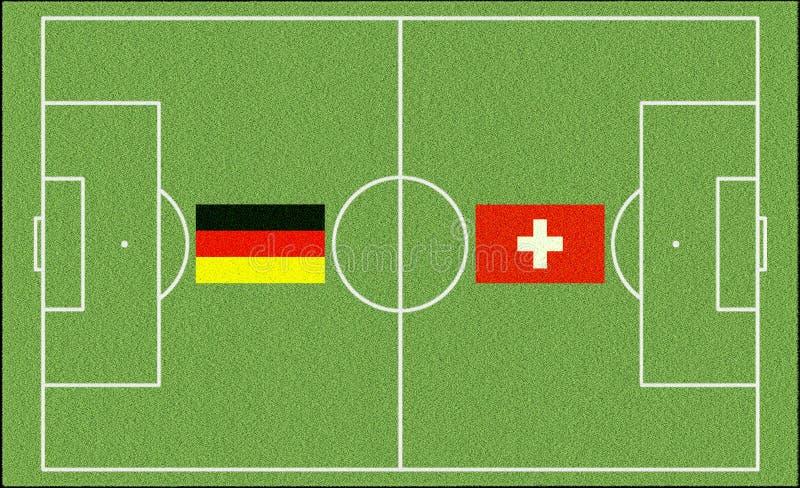 Fußballspiel die Schweiz Deutschland lizenzfreie stockbilder