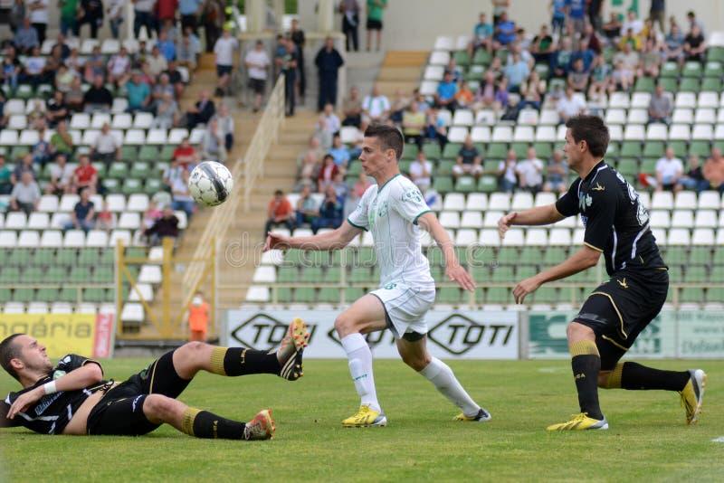 Fußballspiel Kaposvar - Szombathely lizenzfreies stockbild