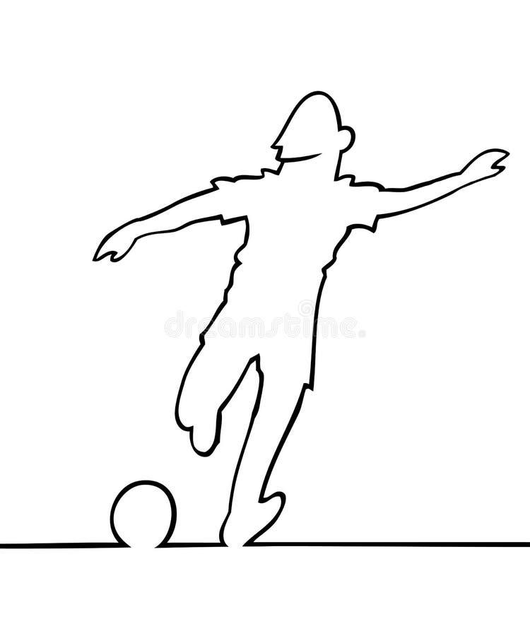 Fußballspieler, der die Kugel tritt lizenzfreie abbildung
