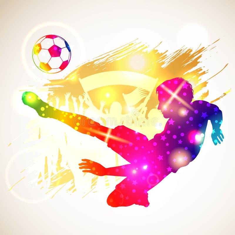 Fußballspieler mit Kugel lizenzfreie abbildung