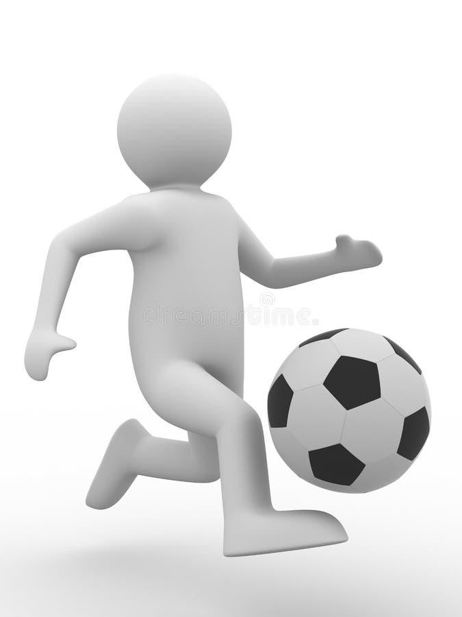 Fußballspieler mit Kugel auf weißem Hintergrund lizenzfreie abbildung