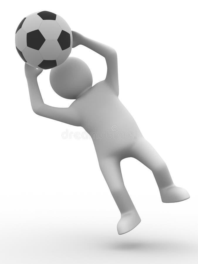 Fußballspieler mit Kugel auf weißem Hintergrund stock abbildung