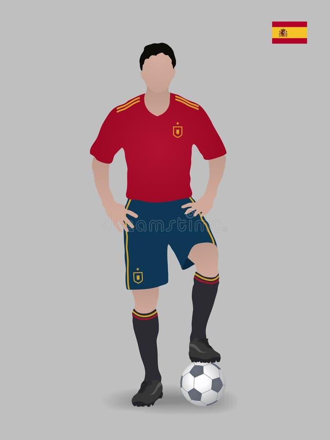 Fußballspieler mit Kugel Nationales Fußballteam Spaniens Auch im corel abgehobenen Betrag lizenzfreie stockbilder