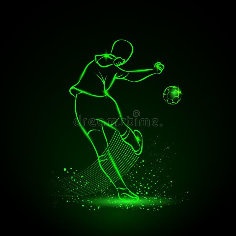 Fußballspieler tritt die Kugel Rückseitige Ansicht stockbild