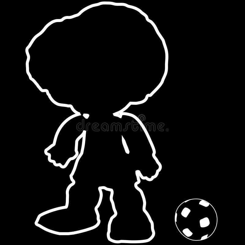 Fußballspielerschattenbild mit klassischem Fußball stockfoto