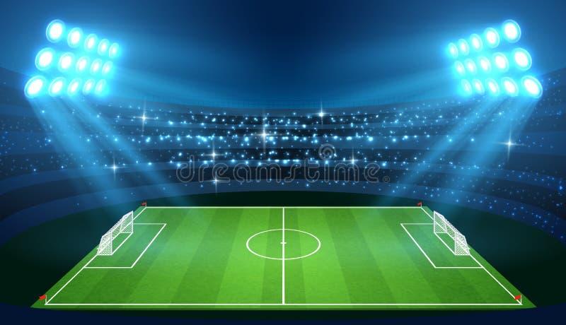 Fußballstadion mit leerem Fußballplatz und Scheinwerfer vector Illustration lizenzfreie abbildung